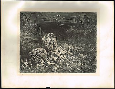1860s Big ANTIQUE Vintage Hell Souls Styx Gustave Dore Art Engraving PRINT