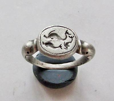 Dolphins. Roman  Ancient Legionary Silver Ring.RARE.