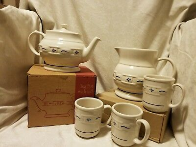 Longaberger Tea Pot And Pitcher And Mugs, Sold As Lot