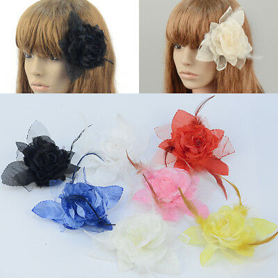 DIY Supplies Feather Rope Flower Clip Brooch Craft Decor Jewelry Fascinator 1pc