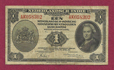 Netherlands 1 Gulden 1943 Banknote AK058302 - Queen Wilhelmina - WWII Currency