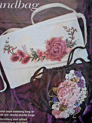 Roses Bouquet silk ribbon embroidery pattern for decor use on purses bags