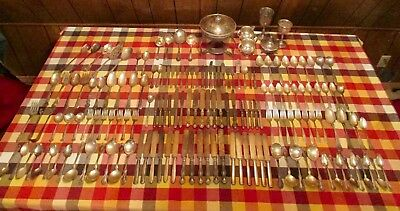 Mixed lot of 170 antique silverplate pieces