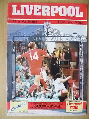 1988 League Cup 2nd RD 1st Leg- LIVERPOOL v WALSALL, 28 Sept (Org, Exc*)