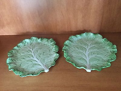 2 Fitz & Floyd Vegetable Garden Green Cabbage Leaf Canape Hors D'oeuvres Plates