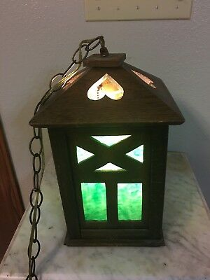 RARE Antique Mission Oak Arts and Crafts Hanging Light with Green Slag Glass