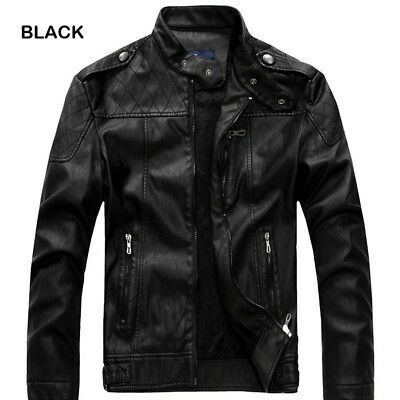 Fashion Men's Genuine Lambskin Leather Jacket Black Slim Fit Biker Motorcycle US