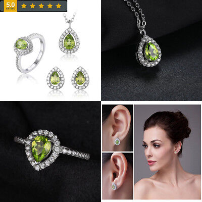 JewelryPalace Women's Pear Natural Peridot Jewelry Sets 925 Sterling Silver...