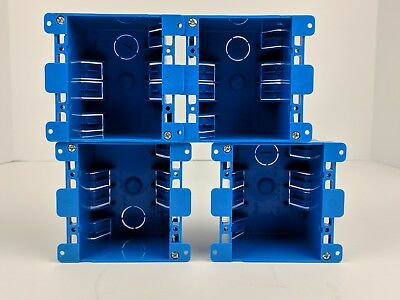 4-Pc Dual 2-Gang Wall Outlet Switch Old-Work Electrical Box Home Blue Plastic
