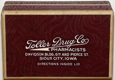 Vintage box TOLLER DRUG CO PHARMACISTS Sioux City Iowa in n-mint condition