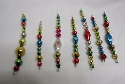 "Set Of 7 Vtg Colorful Mercury Glass Bead Icicles 4"" - 5.25"" Long Lot"
