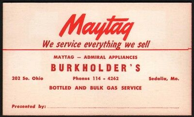 Vintage business card MAYTAG Burkholders Admiral Appliances Sedalia Missouri