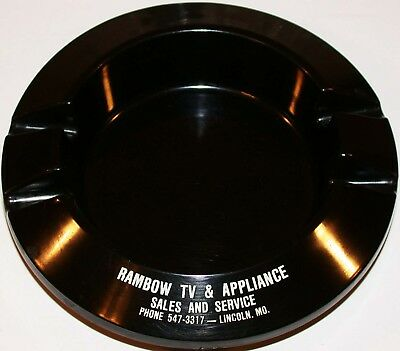 Vintage bakelite ashtray RAMBOW TV and APPLIANCE Sales Service Lincoln Missouri