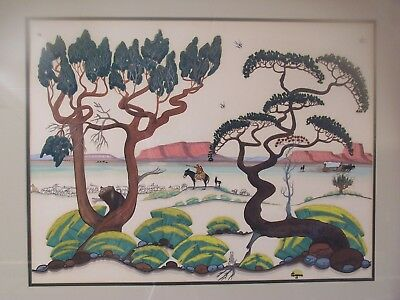 Original Scenic Painting by Native American Artist Quincy Tahoma Indian Art 1949