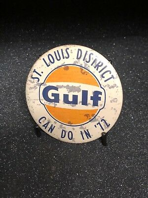 Vintage Gulf Oil Button Pin - From 1972 AND a REGIONAL Button * 46 years old!