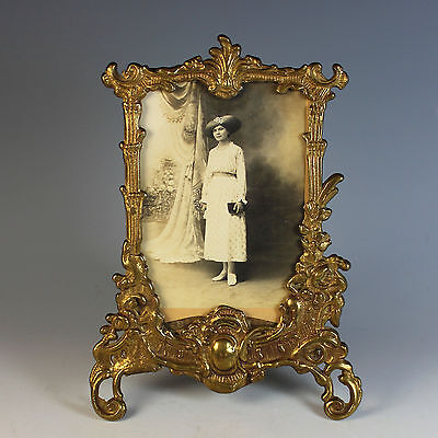 Antique French Gilded Bronze Photo Frame with Photo of a Lady