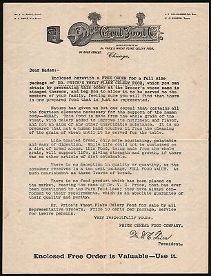 Vintage letterhead PRICE CEREAL FOOD CO Dr Price Chicago form letter early one
