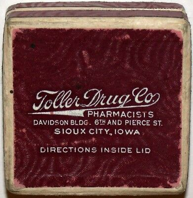 Vintage box TOLLER DRUG CO Pharmacists Sioux City Iowa small size dated 1951