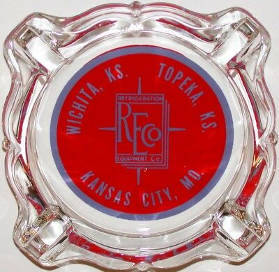 Vintage glass ashtray REFRIGERATION EQUIPMENT Wichita Topeka KS Kansas City MO