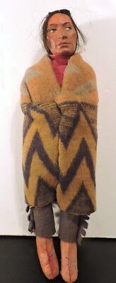 Antique Early Skookum Looking Left Bully Good Native American Doll Wood