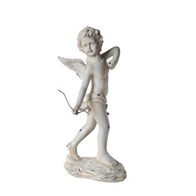 Antique Cupid Angel Country Home Farmhouse Garden Vintage Elegant Ivory Statue