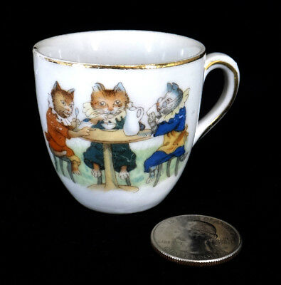 antique CHILDREN'S CUP storybook style cats KITTEN having tea porcelain gold rim