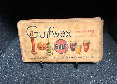 Vintage Gulf Oil Gulfwax Paraffin Wax and Box