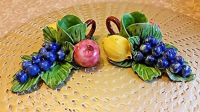 Capodimonte Porcelain Italy Fruit Candle Holders Vintage Signed Ceramic Crown