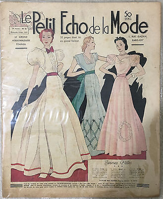 """Le Petit Echo de la Mode,"" December 19, 1937, Vintage French Art Deco Magazine"