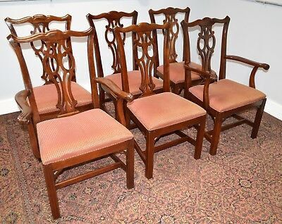 Gorgeous Set Of 6 Vintage Ethan Allen Georgian Chippendale Dining Chairs