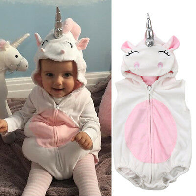 Newborn Unicorn Baby Girls Romper Jumpsuit Jumper Outfits Hooded Unicorn Costume