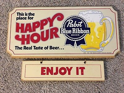 "Pabst Blue Ribbon Happy Hour wood sign ""This is the place for Happy Hour"""
