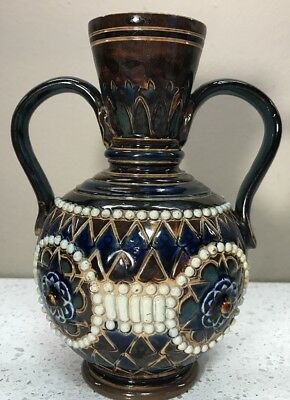 Royal Doulton Early Art Pottery Stoneware Incised  Vase 1902 Pristine