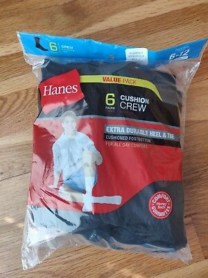 Hanes Men's Black Cushion Crew Socks Sports 6 Pairs Size 6-12 Slightly Imperfect