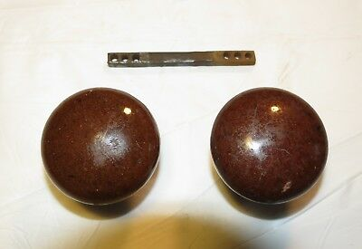 Antique Original matching pair set brown porcelain enamel mortise Door Knob