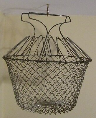 Vintage Collapsible Metal Wire Mesh Egg Basket