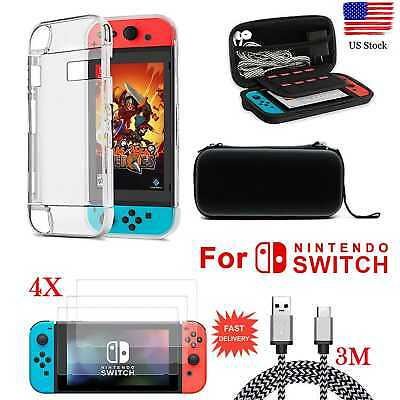 US For Nintendo Switch Accessories Case Bag+Shell Cover+Charging Cable+Protector