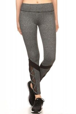 8bf4040fd3 Grey Color Block Strappy Leggings With Contrasting Mesh Panels Medium 7L61