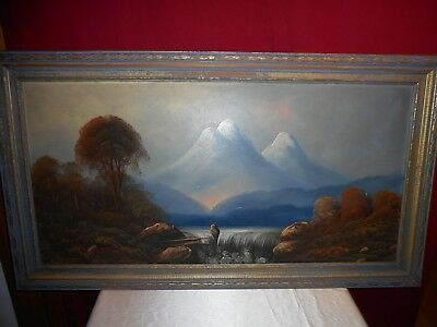Vintage Newton Framed & Signed Original Oil Painting Of Mountain Waterfall!
