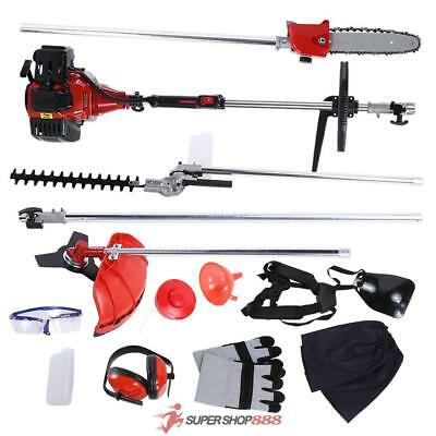 52cc Garden Hedge Trimmer 5 in 1 Petrol Strimmer Chainsaw Brushcutter Multi Tool