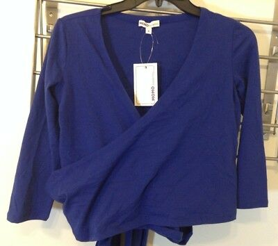 NWT Momo Maternity Wrap Top Blue Size Small