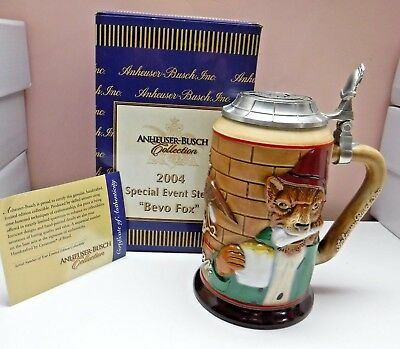 "Anheuser Bush Budweiser CS585 2004 ""Bevo Fox"" Lidded Special Event Stein Signed"