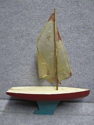 Antique wooden pond sail boat with lead weighted keel, with sail, mast