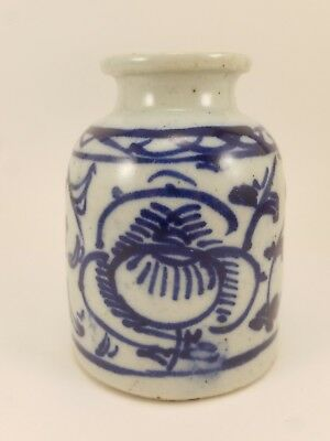 Antique Chinese Blue & White Small Porcelain Jar Vase Sauce Pot Qing Dynasty