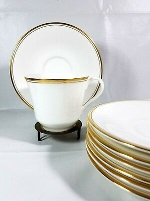 Set of 7 Royal Doulton Concord Gold Cup & Saucer Gold Trim H 5049 English Fine