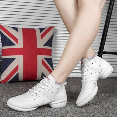 Women Dance Shoes Soft Cow Leather Shoes Sneakers Anti-slip Dance Shoes CO