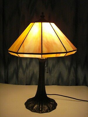 Antique Slag Glass 10 Panels Table Lamp Pink Color With Gold Brass Bronze