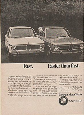 "1968 BMW 1600 & 2002 2-Door Sedan ""Fast. Faster than Fast."" VINTAGE NON-COLOR AD"