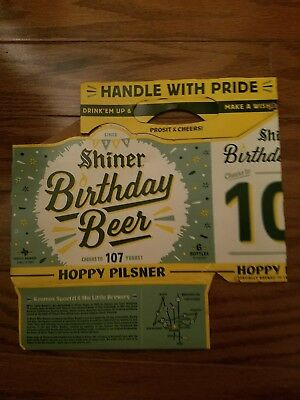 SHINER SIX PACK CARTON CARRIER BIRTHDAY BEER. Cheers to 107 years! 6-PACK