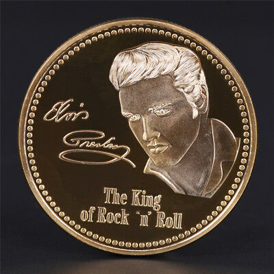 Elvis Presley 1935-1977 The King of N Rock Roll Gold Art Commemorative Coin .